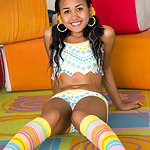 Nude Asian mounds in colorful panties